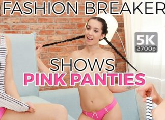 Fashion breaker shows pink panties