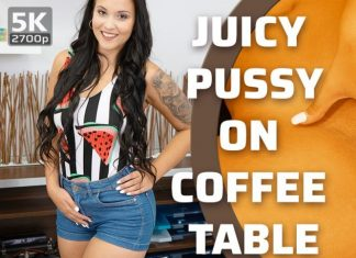 Juicy pussy on coffee table