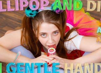 Lollipop and dick in gentle hands