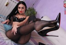Sensual Goddess Ambra gives you a proper foot tease in her bedroom