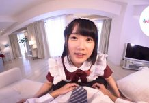 A relax moment from a cute Japanese Maid