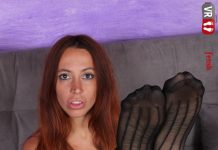 Gorgeously seductive Elettra gives you a steamy hot nylon tease
