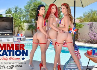 Ashley Lane, Diana Grace, & Lilian Stone celebrate the 4th with an early explosion of cum!