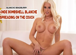 Blonde Bombshell Blanche Spreading On The Couch