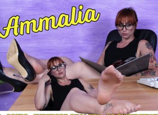 Enjoy A 17-Minute Close-Up Of Sexy Ammalia's Feet In Sheer Pantyhose