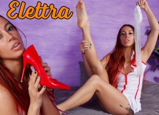 Deliciously Sexy Elettra In A Red And White Nurse's Uniform