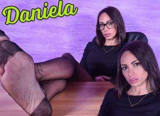 Sexy Secretary Daniela Teases You With Her Nylon-Clad Feet