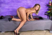 Blonde Bombshell Pamela Strong Tries On Different Pairs Of Nylons